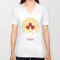 metroid V-neck T-shirts featuring Metroid SR388 by Pralie