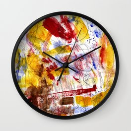 Red and Blue and Brown Wall Clock