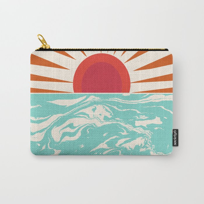 Keepin' It Real - retro 70s vibes throwback ocean sunset sunrise socal surfing beach life 1970's Carry-All Pouch