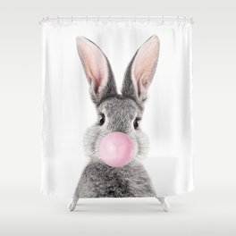 Bunny With Bubble Gum Shower Curtain