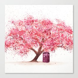 Tardis Tree Art Blossom Canvas Print