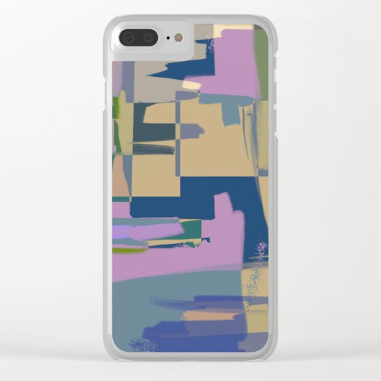 Pale Existence - Abstract, pastel purple, blue, mustard and green painting Clear iPhone Case