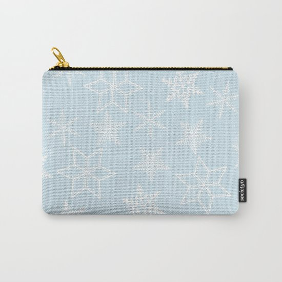 Snowflakes on light blue background Carry-All Pouch