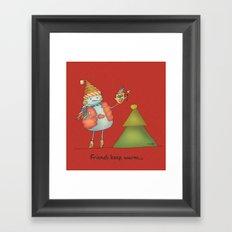 Friends keep warm - red Framed Art Print