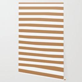 Deer -  solid color - white stripes pattern Wallpaper