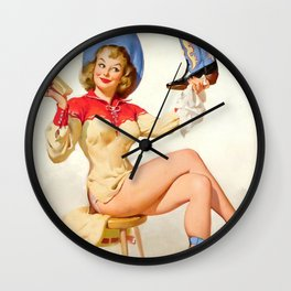 Pin Up Girl Polishing Cowboy Boots Wall Clock