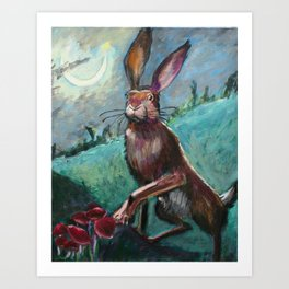 Rabbit Under the Moon Art Print