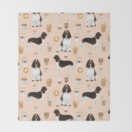 English Springer Spaniel coffee lover dog breed pet portraits custom dog gifts Throw Blanket
