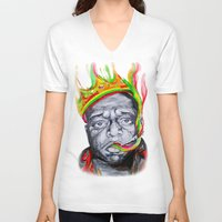 biggie smalls V-neck T-shirts featuring Biggie Smalls by Liam Reading