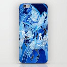 Muge's Pigeons in Blue  iPhone Skin