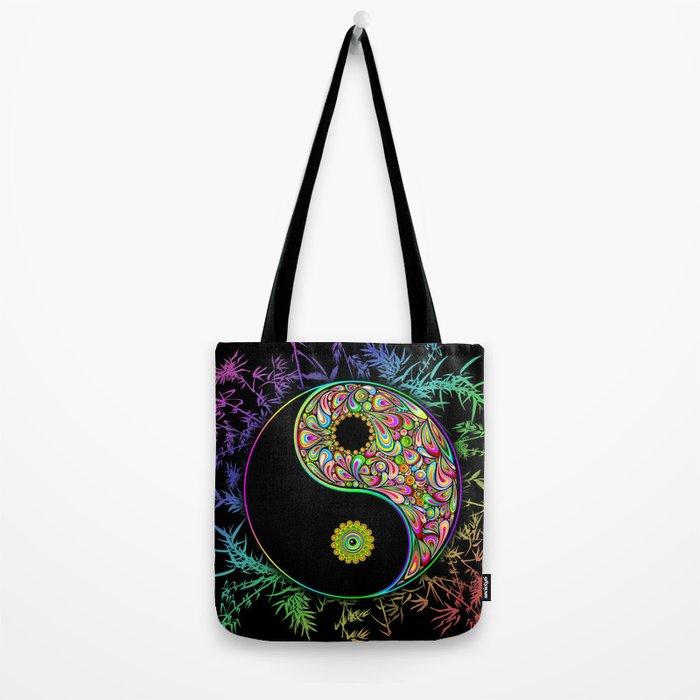 Yin Yang Bamboo Psychedelic Tote Bag
