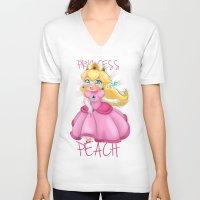 princess peach V-neck T-shirts featuring Princess Peach by Chimi-uzz