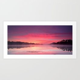 Beautiful Bright Colorful Sunrise Over Lake in The Boundary Waters Art Print