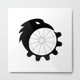Raven Merging to Cog Icon Metal Print