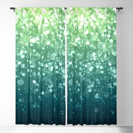 Spring Teal Green Sparkles Blackout Curtain