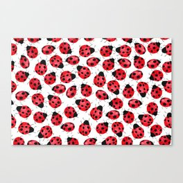 Watercolor Lady Bugs - Red Black Watercolor Insects Canvas Print
