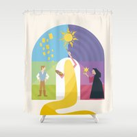 rapunzel Shower Curtains featuring Rapunzel by Rob Yeo Design