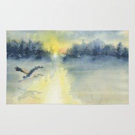 Flying Home - Great Blue Heron Rug