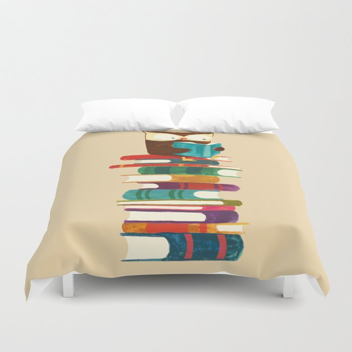Owl Reading Rainbow Duvet Cover