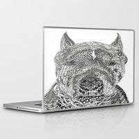 pitbull Laptop & iPad Skins featuring  American Pitbull Terrier by DiAnne Ferrer
