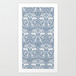 William Morris Navy Bird & Acorn Pattern Art Print