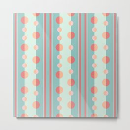 Circles and Stripes in Succulent Green and Coral Metal Print