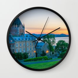 Quebec City Sunset Print Wall Clock