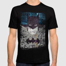 Bat grunge superhero LARGE Mens Fitted Tee Black