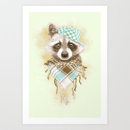 Rocco Raccoon - earth tones Art Print