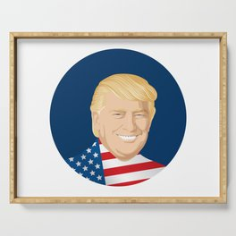 Portrait of  Donald Trump with US flag Serving Tray