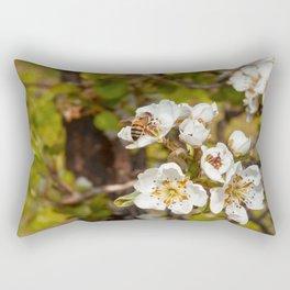 Bartlett Pear Blossoms & Bee Rectangular Pillow