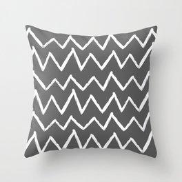 Hand-Drawn Zig Zag (White & Grey Pattern) Throw Pillow