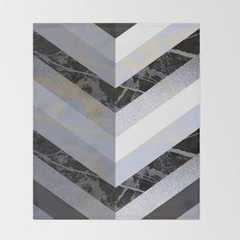 Chevron Pattern 2. Blue, Marble and Glitter #decor #buyart Throw Blanket