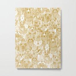 canadian animals gold white Metal Print