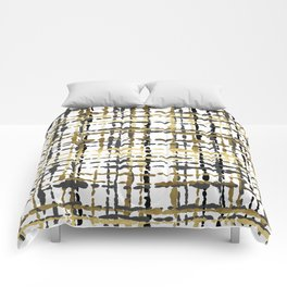 Black and Gold Loose Plaid Comforters