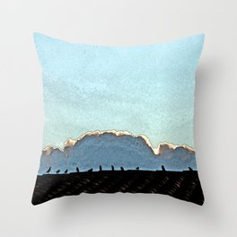 Sparrows on a roof at sunset Throw Pillow