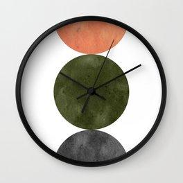 Terracotta, green and gray mid century modern Wall Clock