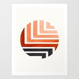Burnt Sienna Circle Round Framed Mid Century Modern Aztec Geometric Pattern Maze Art Print