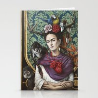 frida kahlo Stationery Cards featuring Frida kahlo by Sophie Wilkins