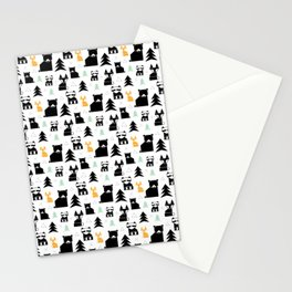 Woodland Animals Geometric Stationery Cards