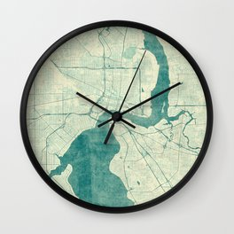 Jacksonville Map Blue Vintage Wall Clock