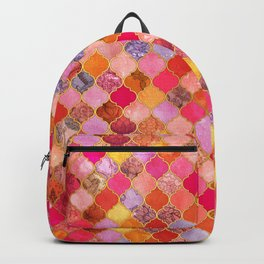 Hot Pink, Gold, Tangerine & Taupe Decorative Moroccan Tile Pattern Backpack