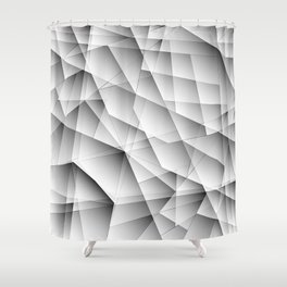 Exclusive symmetrical diagonal pattern of chaotic black and white fragments of glass, glare. Shower Curtain
