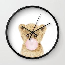 Bubble Gum Lion Cub Wall Clock