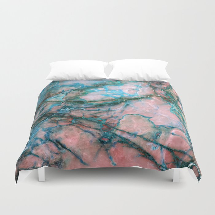 Pink And Blue Marble Duvet Cover By Patternmaker Society6