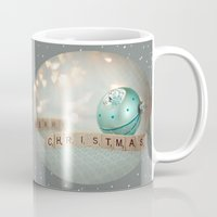 merry christmas Mugs featuring Merry Christmas by Yuliya