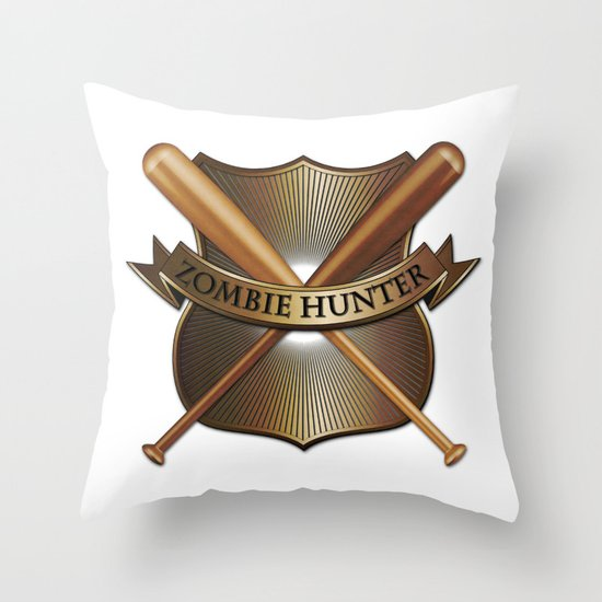 Zombie hunter shield Throw Pillow