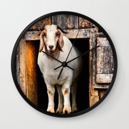 Goat Standing in Barn Loft Doorway Wall Clock