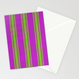 Yellow lines on a pink background Stationery Cards