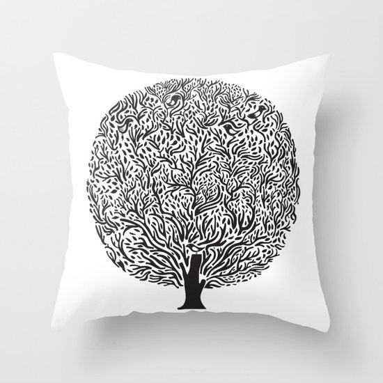 Black and White Tree Throw Pillow